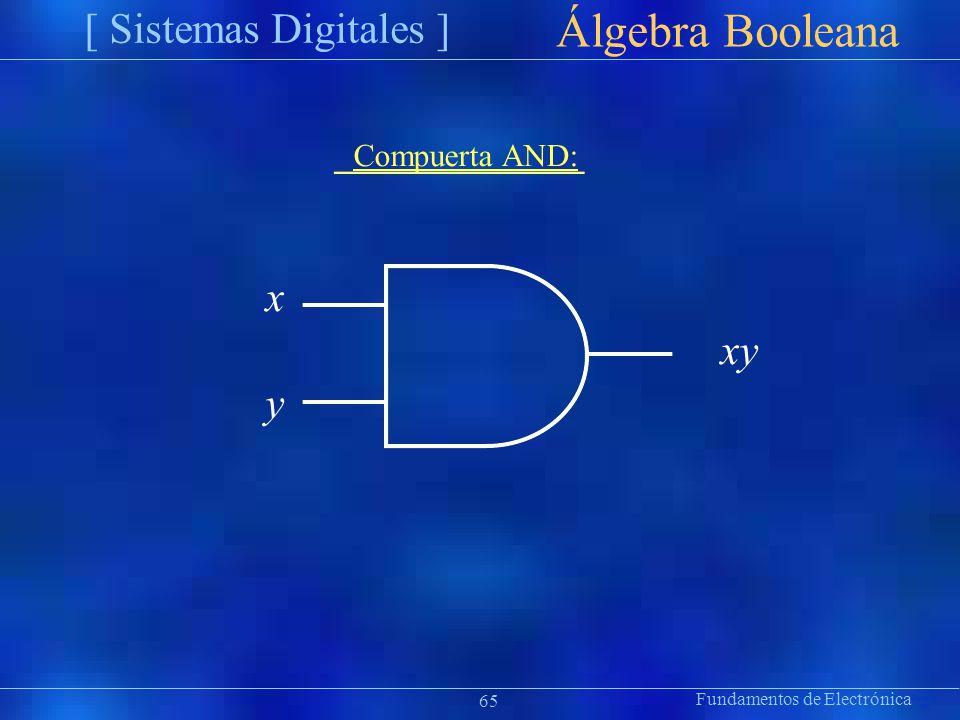 Álgebra Booleana [ Sistemas Digitales ] x y Compuerta AND: xy ion 65